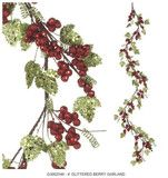 4' Glittered Berry Garland; This is almost as good alone on your mantle, but if you add a couple of cute pieces, it will really WOW people.     •Green leaves sprinkled with green glitter and sparkles  •Styrofoam berries are covered with red foil dusted with red glitter   •Brown covered stems     •Measures 4'