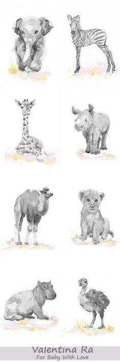 Neutral Kinderzimmer Dekor Safari Art Set 6 Drucke Baby