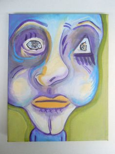 Abstract Face Acrylic Painting on Etsy; blue, purple and green Abstract Faces, Purple, Blue, Art Ideas, Unique Jewelry, Handmade Gifts, Green, Painting, Vintage