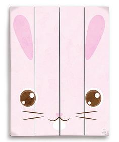 Another great find on #zulily! Pink Bunny Face Wall Art #zulilyfinds