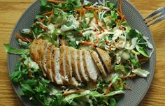 Cat in the Kitchen: Oven-Fried Cajun Chicken Breast on Salad