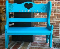 Turquoise Doll Bench with silver crosses and by GraceFlowsFreely, $25.00