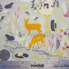 Moonshine FOREST FRIVOLTY Silver Grey Tula Pink Cotton Quilt Fabric Free Spirit by the Yard, Half Yard, Fat Quarter FQ