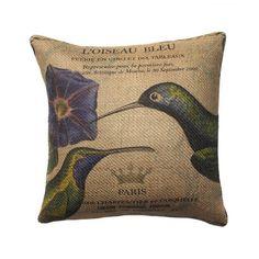 Hummingbird Burlap Throw Pillow | Wayfair