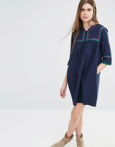 Image 1 ofVanessa Bruno Athe Smock Dress with Button Front