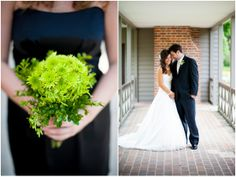 bright green button mum bridesmaid's bouquet and little black bridesmaid dress, plus a sweet sneak peek of the bride and groom captured by http://www.rebekahhoyt.com
