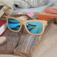 Polarized Square Wood Frame Sunglasses In Wooden Gift Box-Green,Blue,Yellow,Gray Wooden Gift Boxes, Wooden Gifts, Blue Yellow Grey, Wooden Sunglasses, Green Gifts, Handmade Design, Polarized Sunglasses, Gift Ideas, Free Shipping