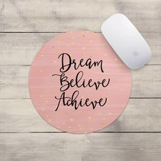 Inspirational Quote Mousepad Dream Believe Gold Dots Gift for Her... (€5,84) ❤ liked on Polyvore featuring home, home decor, office accessories, home & living, office, office & school supplies, silver, gold mouse pad, gold office accessories and gold polka dot mouse pad