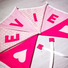 Handmade heart flag bunting, personalised with any name. Each flag is carefully produced by hand therefore can be made to suit your own ideas. Kids Gifts, Baby Gifts, Bedroom Bunting, Apple Gifts, Personalised Bunting, Fabric Bunting, Name Banners, Girl Names, Girls Bedroom