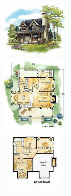House Plan 43212 - Cabin, Craftsman, Log Style House Plan with 1362 Sq Ft, 2 Bed, 2 Bath House Plans One Story, Tiny House Plans, House Floor Plans, Log Cabin Floor Plans, Tiny Cottage Floor Plans, Small House Plans Under 1000 Sq Ft, Small Log Cabin Plans, Small Floor Plans, Kitchen Floor Plans