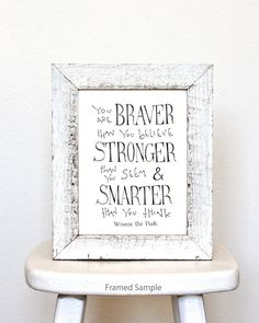 You are BRAVER than you believe... Winnie the Pooh Disney movie inspirational quote, typographic print, kids wall art, graduation gift