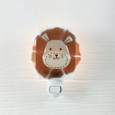 Lion nightlight. Handmade fused glass nightlight for child's bedroom.