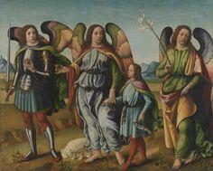 The Three Archangels with the young Tobias / Los tres arcángeles con el joven Tobías // 15th c. // Francesco Botticini // Alte Pinakothek