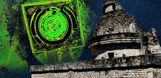 EL CARACOL Observatory at CHICHEN ITZA (Wright Reading/CC BY-NC 2.0)and Composite 3D laser scan image of EL CARACOL from above.