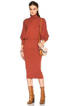 Acne Studios Cariso Merino Dress in Burnt Orange