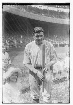 babe ruth | Babe Ruth, New York Yankees, with children on field at Yankee Stadium ...