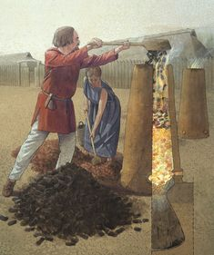 """An Iron Age Iron Smelting Furnace. Viking technique for smelting of iron ore was amazingly simple. It only takes some charcoal, some bog iron ore, roasted and crushed, plus a simple clay oven to create """"bloom iron"""". Illustration by Flemming Bau. Iron Age, Germanic Tribes, Medieval Life, Dark Ages, Ancient History, Blacksmithing, Archaeology, Metal Working, Painting"""
