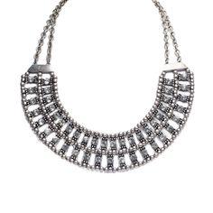 Mocha Two Row Crystal Bib Necklace