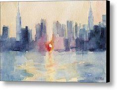 Manhattanhenge New York Skyline Painting Canvas Print / Canvas Art By Beverly Brown Prints