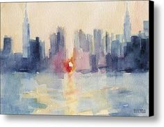 Manhattanhenge New York Skyline Painting Canvas Print / Canvas Art By Beverly Brown Prints