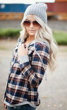 Cute cap, plaid shirt and glasses - love her hair too