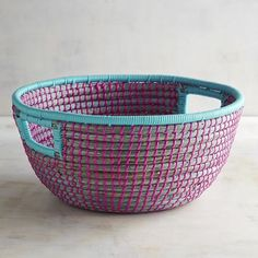A place for everything and everything in its place, as the saying goes. Our hand-woven Natura seagrass basket features a colorful design and built-in handles that make it easier to organize around the house. Basket Shelves, Storage Baskets, Decorative Storage, Decorative Bowls, Basket Weaving, Hand Weaving, Blanket Storage, Basket Decoration, Pier 1 Imports