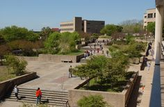 Candid campus scenes by Alkek and the LBJ Student Center.