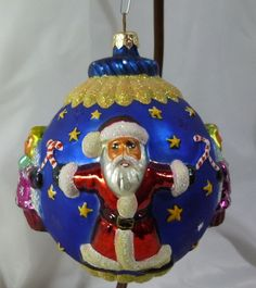 Radko blown glass circle of cheer full size santa angel round christmas ornament
