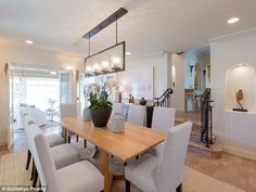 Dining in style: She will have had the option of eating meals at this beautiful table...