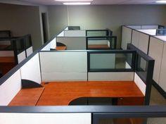 SAPPHIRE CUBICLES  Shown with Bookshelves  Glass Cubicle Panels