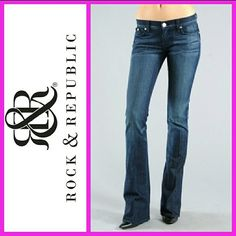 Rock & Republic Authentic 'Kasandra' Bootcut Jeans These size 32, Kasandra Bootcut jeans are the perfect addition to your wardrobe. These are from Nordstroms. Originally priced at $168. Fitted through the knee, flares out to a boot leg style. Whiskering, distressed and faded details give you the edge you're looking for in resolution blue color.   *Low rise with pink rhinestone accents on signature embroidered back pockets.  *36  inch inseam.  *Premium denim.  *98% cotton, 2% spandex.  *Dry…