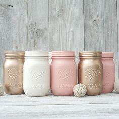 6 Peach and rose gold wedding centerpieces, mason jar vases. Ball maosn jars in bulk.