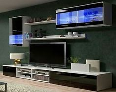 The ideal solution for lovers of beautiful and minimalist modern forms! Original design draw the attention of your guests. Winston wall unit will fit into any interior. The simple design ensures ease of installation and reliability in use. Tv Design, Tv Unit Design, Tv Wall Design, Interior Design, Modern Design, Ikea Tv Wall Unit, Ikea Wall, Home Decor Furniture, Modern Furniture