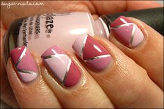 Pink color blocking with silver stipping tape Sexy Nails, Hot Nails, Fancy Nails, Pink Nails, Hair And Nails, Really Cute Nails, Pretty Nails, Tape Nail Designs, Tape Nail Art