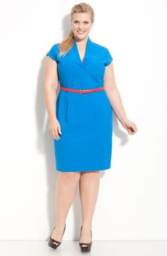 Calvin Klein 'Stretch Luxe' Belted Cap Sleeve Dress (Plus)