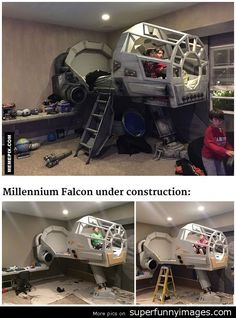 This father built his son a Star Wars Millennium Falcon bed funny image