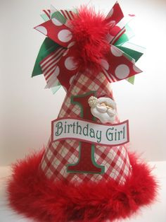 Personalized Christmas Birthday Party Hat by DoodlesDotsnDimples, $12.99