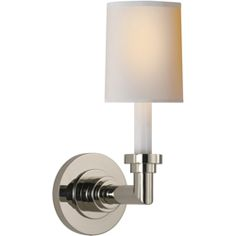 "Visual Comfort E.F. Chapman Wilton Single Sconce in Polished Nickel with Natural Paper Shade SL2845PN-NP | Height: 13 3/4"", Width: 5"", Backplate: 5"" Round, Number of Sockets: 1, Socket Type: Candelabra, Wattage/Bulb Type:60 B"