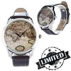 Map Watch  Wristwatch / Cool Modern Retro Watches by ZIZWatches, €40.00