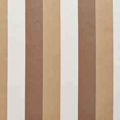 Beige White and Brown Shiny Large Stripe Damask Silk Look Upholstery Fabric