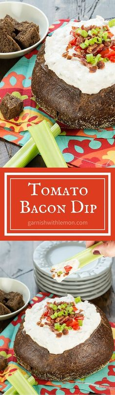 Tomato Bacon Dip is a tasty cold appetizer that is easy to transport and a perfect addition to any party spread.