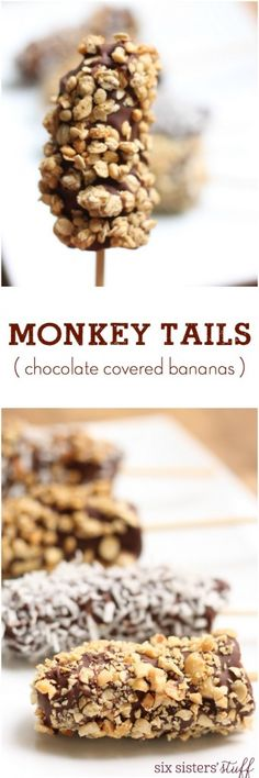 "Monkey Tails (Chocolate Covered Bananas) - Six Sisters' Stuff | These Monkey Tails are so easy to make! They make a great ""healthier"" snack that the kids will love to help you put together."