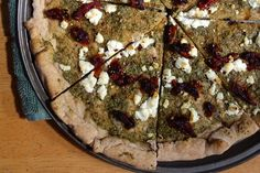 amazing salsa verde, goat cheese, & sun-dried tomato pizza #pizza #gourmet @ dourmet.com