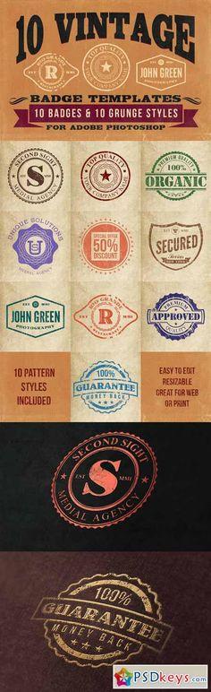 10 Vintage Badge Templates 35031