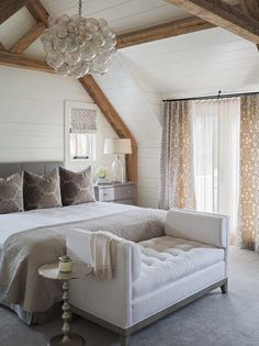 Home Decor – Bedrooms : Elegant master bedroom with floor to ceiling shiplap, exposed wood beams, white walls and grey carpet. -Read More – Luxury Interior Design, Home Design, Design Ideas, Coastal Interior, Design Inspiration, Bedroom Inspiration, Design Trends, Feature Wall Bedroom, Coastal Bedrooms