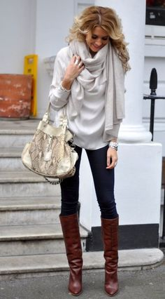 Winter fashion clothes with white sweater . .