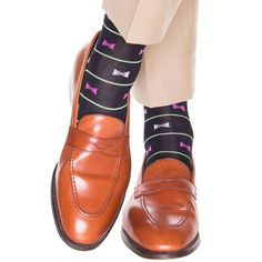 Navy with Green Stripe and Pink Bow Tie Socks Linked Toe OTC