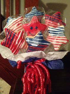 4TH OF JULY COOKIE BOUQUET Baking Cookies, No Bake Cookies, Cookie Bouquet, 4th Of July, Sweets, Cakes, Amazing, Desserts, Tailgate Desserts
