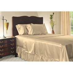 Twin Size Champagne Satin Sheet Set