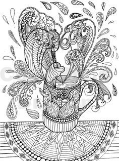 Coffee Coloring Pages Colouring Wave Water Java Steam Hot Mug Cup Fancy Table Star Paisley Design Drawing